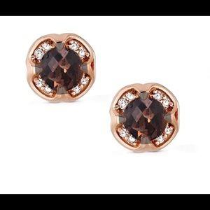 Chocolate Quartz & Vanilla Diamonds Earrings